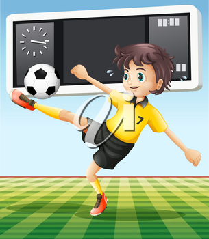 Soccer player in the field illustration