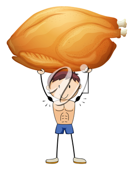 Man lifting up roasted turkey illustration
