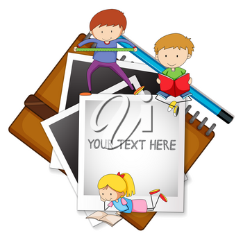 Frame template with kids in background illustration