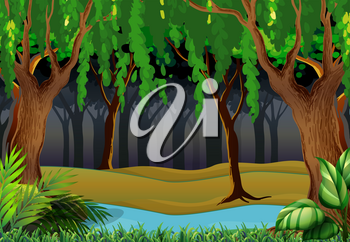 Forest scene with trees and river illustration