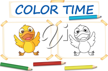Coloring template with little duck illustration