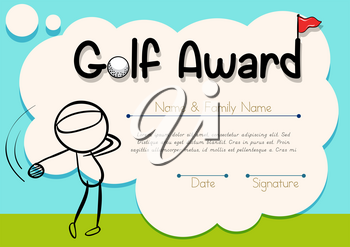 Certificate template with golf player illustration