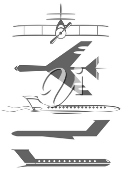 Royalty Free Clipart Image of Airplanes