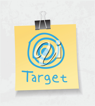 Royalty Free Clipart Image of a Target on a Note