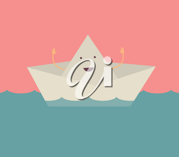 Royalty Free Clipart Image of a Smiling Paper Boat