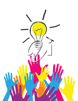 Royalty Free Clipart Image of Hands and a Light Bulb