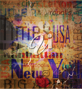 Royalty Free Clipart Image of a Grungy Word Collage