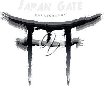 Japan Gate calligraphy. Abstract symbol of hand-drawn