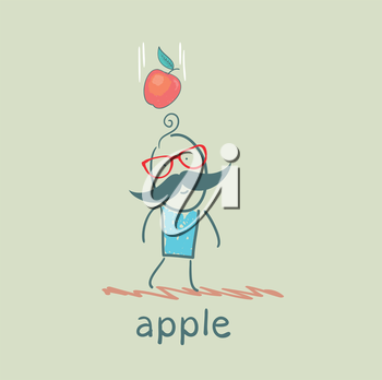 man falls down an apple