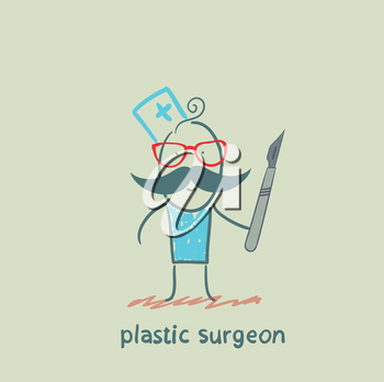 plastic surgeon with a scalpel