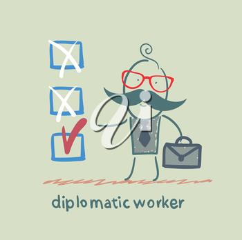 diplomatic worker puts a tick