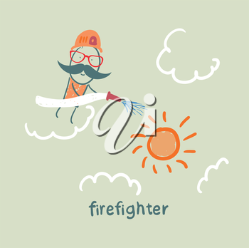 firefighter puts out the sun