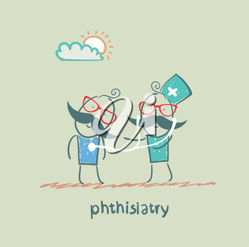 phthisiatry stethoscope listens to the patient
