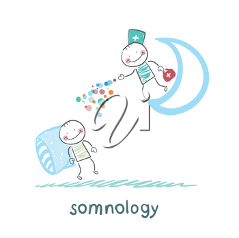 somnology standing on the moon and throws multicolored medication to a patient who is sleeping