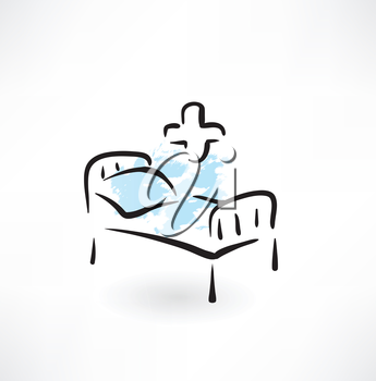 medical bed grunge icon
