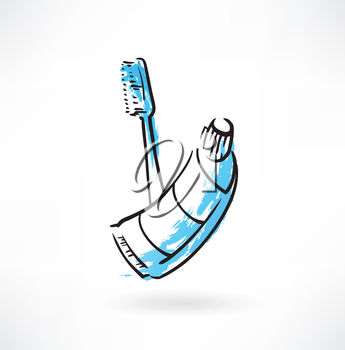 toothbrush and toothpaste grunge icon