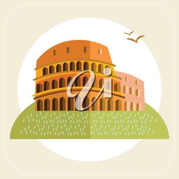 Rome Colosseum icon flat