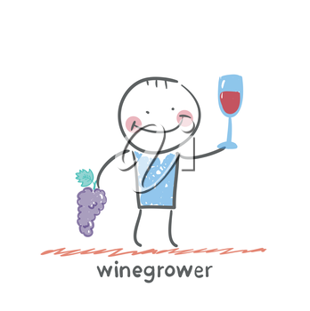 winegrower holds a bunch of grapes and looks at a glass of wine