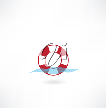 lifebuoy on water icon
