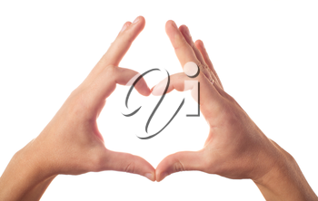 Two hands showing heart on white background