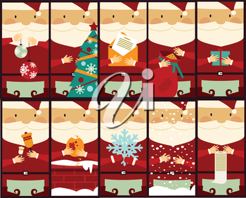 set of pictures with Santa Claus illustration