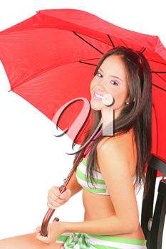 Beautiful young lady under a red umbrella isolated on white