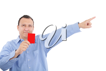 man shows someone a red card. All isolated on white background