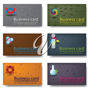 Royalty Free Clipart Image of Six Business Cards