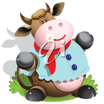 Royalty Free Clipart Image of a Cartoon Cow