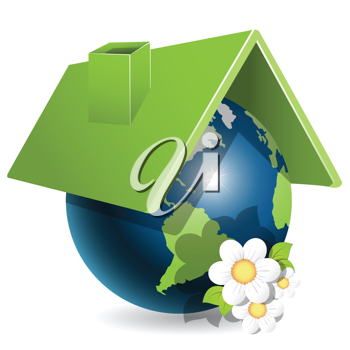 Royalty Free Clipart Image of a Globe Under a Roof