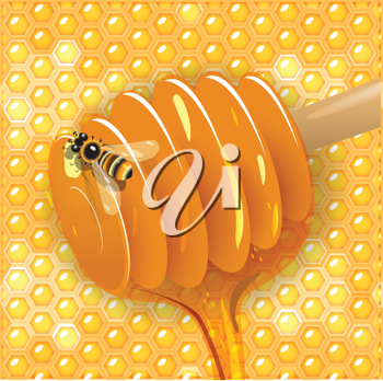 Royalty Free Clipart Image of a Bee and Honey