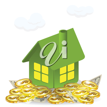 Royalty Free Clipart Image of a House With Money