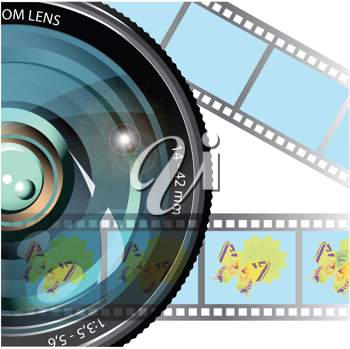 Royalty Free Clipart Image of a Camera Lens and Film