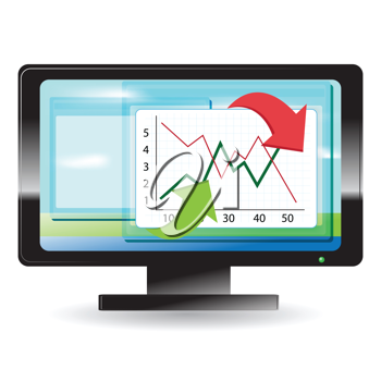 Royalty Free Clipart Image of a Graph on a Monitor