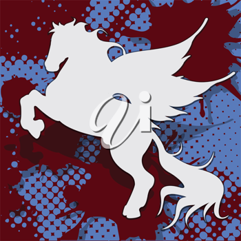 Royalty Free Clipart Image of a Winged Horse