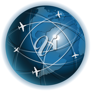 Royalty Free Clipart Image of a Global Airplane Concept