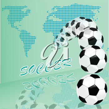 Royalty Free Clipart Image of  Soccer Balls and a Map