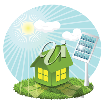 Royalty Free Clipart Image of a Greenhouse With Solar