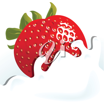 Royalty Free Clipart Image of a Strawberry in Milk