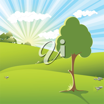 Royalty Free Clipart Image of a Tree in a Field