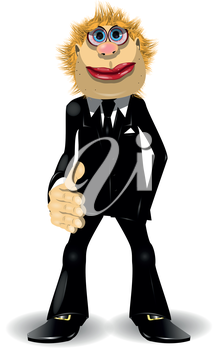 Royalty Free Clipart Image of a Man With His Hand Out