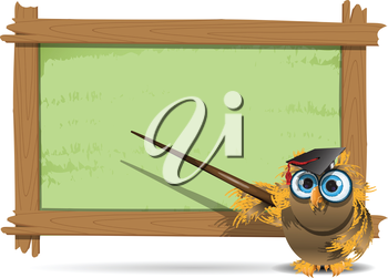 Royalty Free Clipart Image of an Owl With a Pointer at a Board