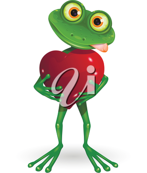 Royalty Free Clipart Image of a Frog Holding a Heart