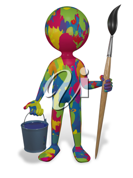 Royalty Free Clipart Image of a Person Covered in Paint