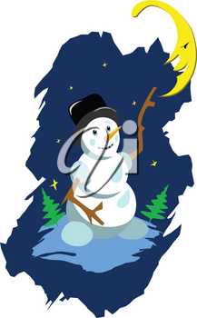 Stock Illustration Snowman and Moon on a White Background