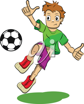 Stock Illustration Cartoon Soccer Player on a White Background