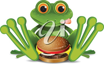 Stock Illustration Frog with Cheeseburger on a White Background