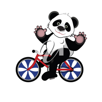 Illustration of Cheerful Panda on a Bicycle on a White Background