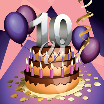 Royalty Free Clipart Image of a Tenth Anniversary Cake with Numbers