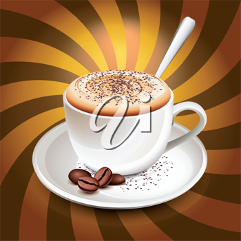 Royalty Free Clipart Image of a Cup of Cappuccino